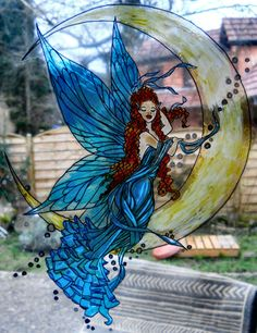 MOON AND SNOW wicoart HANDMADE STAINED GLASS EFFECT WINDOW CLING EASY TO APPLY AND TO REMOVE HAND PAINTED WITH GALLERY GLASS AND GLASS PAINT PEBEO ON AN ELECTROSTATIC VINYL SHEET ONE OF A KIND OOAK