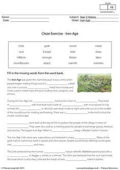PrimaryLeap.co.uk - Cloze Exercise - The Iron Age Worksheet