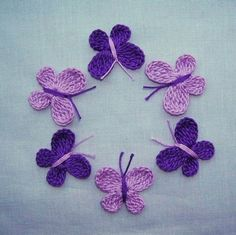 6  Handmade  Crocheted  Purple  Butterflies  Appliques/crafts/Scrapbook
