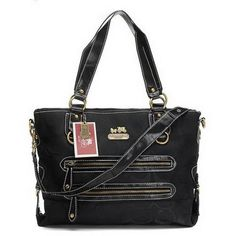 Coach Double Zip Logo Medium Black Totes EHL Give You The Best feeling!