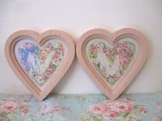 Set 2 Vintage 1970's  Homco Sweet Pink Heart Frames Floral Pink Roses & Ribbons Prints  Shabby Cottage Chic  Romantic by VintageChicPleasures on Etsy