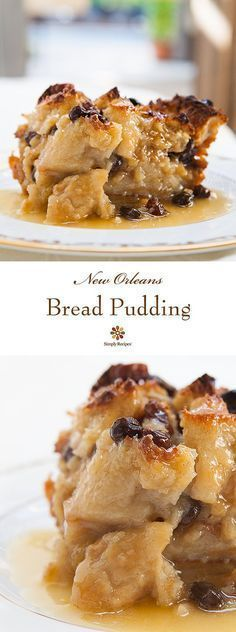 Authentic New Orleans bread pudding with French bread milk eggs sugar vanilla spices and served with a Bourbon sau. Authentic New Orleans bread pudding with French bread milk eggs sugar vanilla spices and served with a Bourbon sauce. Just Desserts, Delicious Desserts, Dessert Recipes, Yummy Food, Cajun Desserts, Mardi Gras Desserts, Mardi Gras Food, Southern Desserts, Southern Food