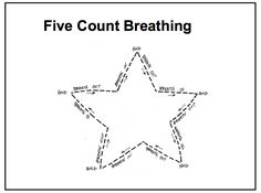 FIve Count Breathing:  brilliant idea to help kids focus on the breath - it combines focus, some brain gym (movement of the eyes) and using shapes (which can be healing in themselves).     Taken from a pdf --pg 5 -- from  Paris Goodyear-Brown, LCSW, RPT-S 397-9480 www.parisandme.com paris@parisandme.com