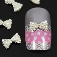 Tint 10pcs White Pearl Bow Tie 3D DIY Alloy Nail Art Decoration ** Want to know more, click on the image.