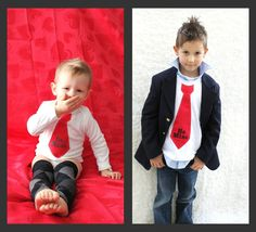 Set of 2 Be Mine Personalized Valentine's Day 2013 Boy Tie Tee / T-Shirt AND Tie Onesie.  Red Hearts Big Brother Little Brother. $49.00, via Etsy.