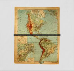 1917 Vintage Map of the Americas with the Inspirational Travel Quote