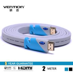 Vention Blue Flat HDMI Cable 2M 6FT With 24K Gold Plated Connector Support 3D Ethernet 1080P For Computer  Laptop PS4 XBOX 360  $9.78