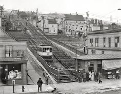 """Duluth, Minnesota, circa 1907. """"Up the incline railway from Superior Street."""" 8x10 inch dry plate glass negative, Detroit Publishing Company.  Best picture I've seen yet of the incline railway.  Too bad the station burned."""