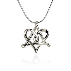 Silver Star of David Heart Necklace