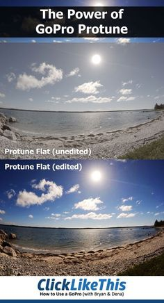 How much difference does Protune make? The top image was shot in Protune Flat with the GoPro Hero4 Black - as close to an unedited image as possible. The bottom image is the identical image - only edited. Because the protune setting limits the in-camera editing, you have much more flexibility in editing and bringing out the true colors. It's almost like having a DSLR inside the GoPro.