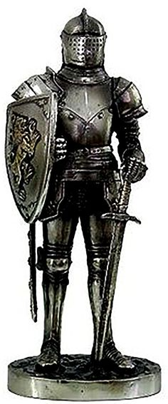 """Amazon.com: Custom & Unique {7"""" x 3.5"""" Inch} 1 Single, Home & Garden """"Standing"""" Figurine Decoration Made of Grade A Resin w/ Medieval Knight Fort Keep Sentry Guard Style {Silver Color}: Home & Kitchen"""