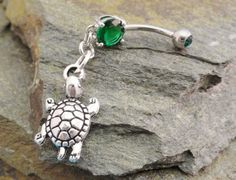 Turtle Belly Button Ring Green Navel Jewelry by MidnightsMojo, $13.00