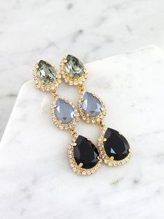 Gray Bridal Earrings Black Chandelier s Dark Gray LONG Earrings Swarovski Crystal Drop Earrings Bridal Statement EarringsBlack Earrings Black Earrings, Statement Earrings, Drop Earrings, Stylish Jewelry, Cute Jewelry, Jewelry Accessories, Fashion Accessories, Bridal Earrings, Bridal Jewelry
