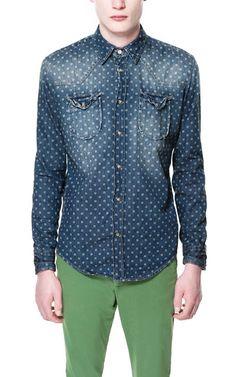 PRINTED DENIM SHIRT - Casual - Shirts - Man - ZARA United States
