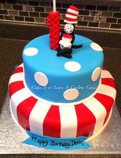 Cat in the Hat cake - I have never done fondant but @mindiarnesen does this look like something a beginner could hack? Dr Suess Cakes, Cat In The Hat Party, Dr Seuss Baby Shower, Boy Birthday Parties, Dr Seuss Birthday Party, Baby First Birthday, 1st Boy Birthday, Birthday Stuff, Birthday Ideas