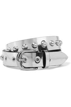 Isabel Marant - Zoa Studded Metallic Leather Belt - Silver