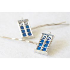 Tardis Bobby Pin Set Tardis Hair Clip Set of 2 Dr Who Hair Pins Doctor... ($33) ❤ liked on Polyvore featuring accessories, hair accessories, hair pins, silver, hair clip accessories, barrette hair clip, blue hair clips, blue hair accessories and bobby hair pins