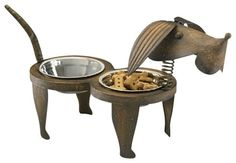 Rex Pet Feeder. I've no doubt the food taste better and the dog is happier just by eating out of this fancy feeder:o)