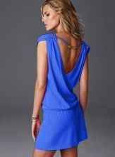 Blue V Neck Sleeveless Backless Drawstring Sundress - Sheinside.com