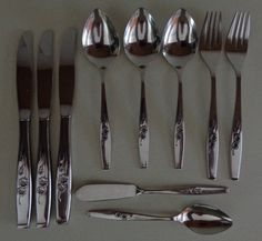 Style House Fancy Free Stainless Flatware Mixed Lot Butter Knife, Soup Spoons, Teaspoons, Forks, Knives by RocktheJewels on Etsy