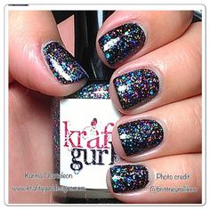 Nail Art for short nails Karma Chameleon over black nails www.kraftygurldesigns.com