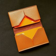 ⠀ Don't really have a name for this cardholder as yet, but with its diamond shaped cut out, we… Diy Leather Card Holder, Leather Business Card Holder, Business Card Case, Leather Card Case, Handmade Leather Wallet, Leather Gifts, Leather Craft, Leather Projects, Small Leather Goods