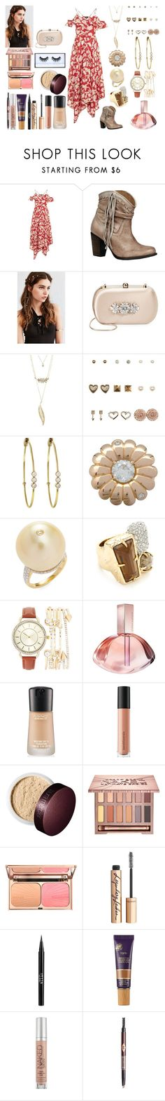 """""""Untitled #1187"""" by asiebenthaler ❤ liked on Polyvore featuring Topshop, Naughty Monkey, REGALROSE, Badgley Mischka, Charlotte Russe, Jennifer Meyer Jewelry, Tara, Alexis Bittar, Calvin Klein and MAC Cosmetics"""