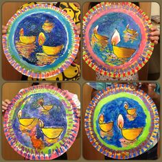 In celebration of Deepavali, the Festival of Lights - floating oil lamps ( a study on reflection n perspective). These are done on the underside of paper plates with oil pastels n watercolours, and of course, glitters to create the shimmering water.