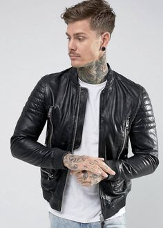 Allsaints Sanderson Leather Bomber Biker Jacket