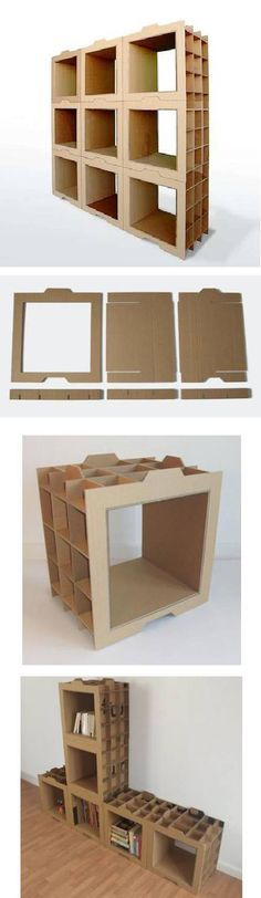 Modulat Bookcase Cardboard There Is Also A Videotutorial And Plan On The