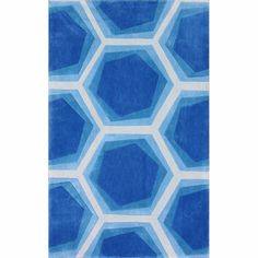 @Overstock - Quality meets value in this beautiful modern area rug. Handmade with modified acrylic to prevent shedding, this plush area rug will enhance any home decor.http://www.overstock.com/Home-Garden/Handmade-Abstract-Honeycomb-Blue-Rug/7341183/product.html?CID=214117 $187.99