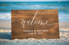 Wooden Wedding Welcome Sign with Names and by SweetNCCollective