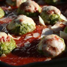 Chicken Parmesan Meatballs with Crispy Broccoli