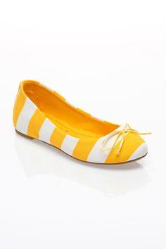 Yellow & White Striped Flats.