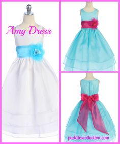 This create your own girls dress allows you to select your own dress and sash color.  This is perfect for a flower girl dress, wedding, party, or any other special event.