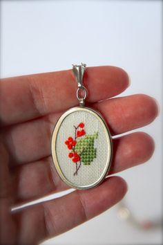 Tree branch in blossom necklace Embroidered necklace от byKALYNKA Cross Stitch Embroidery, Hand Embroidery, Leaf Jewelry, Hula, Crossstitch, Tree Branches, Punch, Needlework, Arts And Crafts