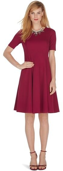 Elbow Sleeve Seamed Ponte Fit and Flare Dress