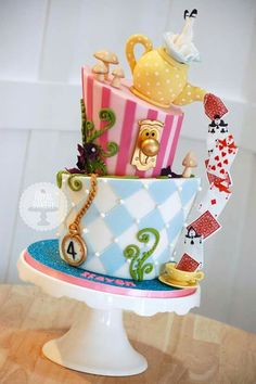 Alice in Wonderland cake for a girl!