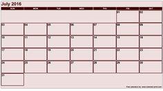 Printable July 2016 Calendar
