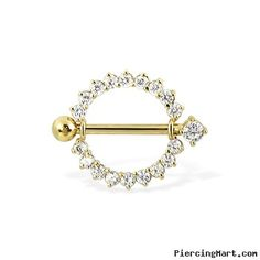 14K solid yellow gold gemmed nipple ring with jeweled barbell, 14 ga