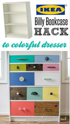 DIY IKEA Billy Bookcase Hack to a colorful chest of drawers. Upcycled Furniture, Furniture Projects, Furniture Makeover, Diy Furniture, Bookcase Makeover, Diy Projects, Billy Ikea, Ikea Billy Bookcase Hack, Billy Regal Upcycling