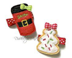 Christmas Hair Clips Santa Cup and Cookie Hair by DiddlebugsAndMe