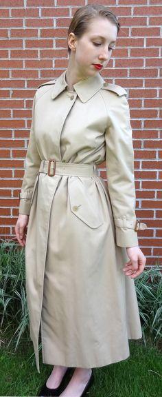 Auth Vtg Burberry Trench Coat Womens size S Khaki by DakinisChoice, $159.00