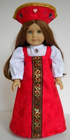 """Fits 18"""" American Girl doll Russia Russian sarafan dress clothes O (COSTUME ONLY"""