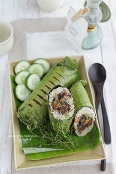 Grilled aromatic rice / Nasi bakar rica-rica  Indonesian cuisine