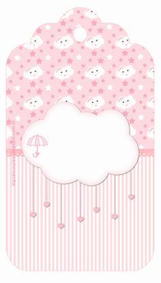 """Kit artes digitais festa de aniversário """"Chuva de Bençãos"""" cor de rosa...festa para meninas"""