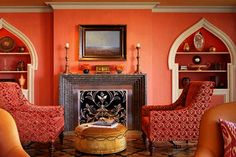 moroccan home, living room design with pink and orange colors