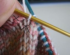 How to avoid a hole when picking up stitches for the gusset after finishing the heel. (Espace Tricot) #socks
