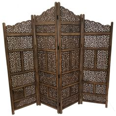 Hand Carved Foldable 4-Panel Wooden Partition Screen/ Room Divider, Brown