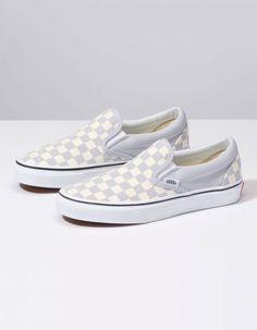 021680bbf1f3f5 VANS Checkerboard Gray Dawn   True White Womens Slip-On Shoes Vans  Checkerboard